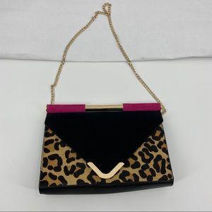 Dune suede leopard print and fuschia evening bag